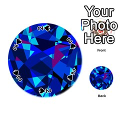 Blue Broken Glass Playing Cards 54 (round)  by Valentinaart