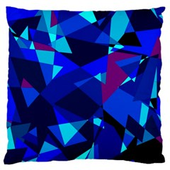 Blue Broken Glass Large Cushion Case (two Sides) by Valentinaart