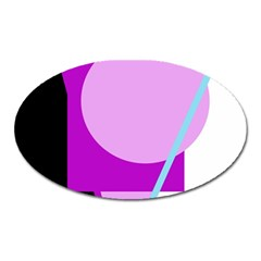 Purple Geometric Design Oval Magnet by Valentinaart