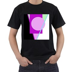 Purple Geometric Design Men s T Shirt (black) (two Sided) by Valentinaart
