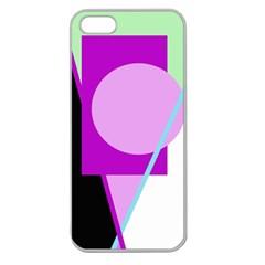 Purple Geometric Design Apple Seamless Iphone 5 Case (clear) by Valentinaart