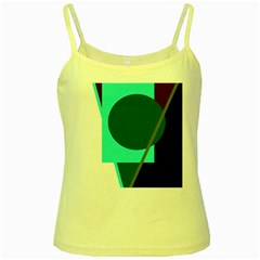 Geometric abstract design Yellow Spaghetti Tank by Valentinaart