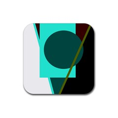 Geometric Abstract Design Rubber Square Coaster (4 Pack)  by Valentinaart