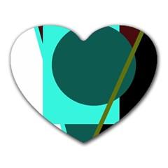 Geometric Abstract Design Heart Mousepads by Valentinaart
