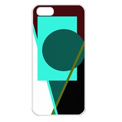 Geometric Abstract Design Apple Iphone 5 Seamless Case (white) by Valentinaart