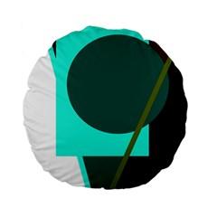 Geometric Abstract Design Standard 15  Premium Round Cushions by Valentinaart