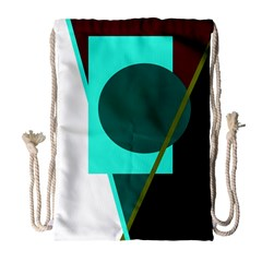 Geometric Abstract Design Drawstring Bag (large) by Valentinaart