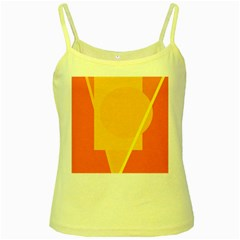 Orange abstract design Yellow Spaghetti Tank by Valentinaart