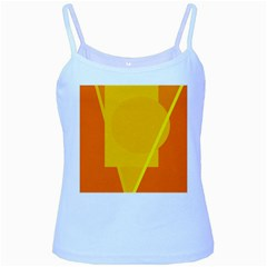 Orange Abstract Design Baby Blue Spaghetti Tank by Valentinaart