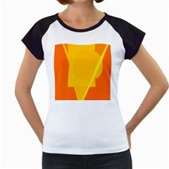 Orange Abstract Design Women s Cap Sleeve T by Valentinaart