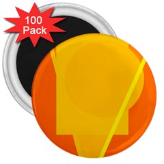 Orange Abstract Design 3  Magnets (100 Pack) by Valentinaart