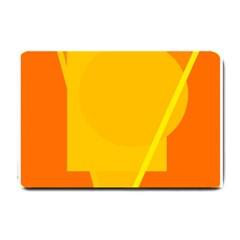Orange Abstract Design Small Doormat  by Valentinaart