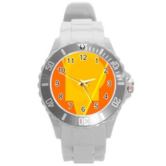Orange Abstract Design Round Plastic Sport Watch (l) by Valentinaart