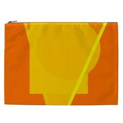 Orange Abstract Design Cosmetic Bag (xxl)  by Valentinaart