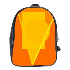 Orange Abstract Design School Bags (xl)  by Valentinaart