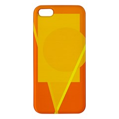 Orange abstract design Apple iPhone 5 Premium Hardshell Case by Valentinaart