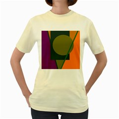 Geometric Abstraction Women s Yellow T Shirt by Valentinaart