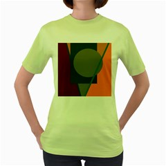 Geometric abstraction Women s Green T-Shirt by Valentinaart