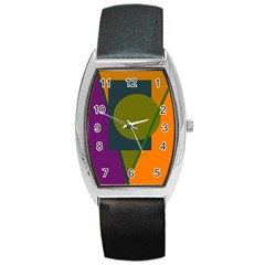 Geometric Abstraction Barrel Style Metal Watch by Valentinaart