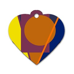 Geometric Abstract Desing Dog Tag Heart (one Side) by Valentinaart