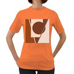 Brown Geometric Design Women s Dark T Shirt by Valentinaart