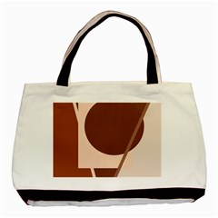 Brown Geometric Design Basic Tote Bag (two Sides) by Valentinaart