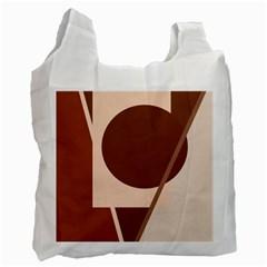 Brown Geometric Design Recycle Bag (one Side) by Valentinaart