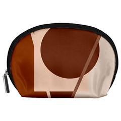 Brown Geometric Design Accessory Pouches (large)  by Valentinaart