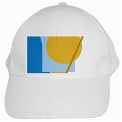 Blue And Yellow Abstract Design White Cap by Valentinaart