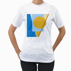 Blue And Yellow Abstract Design Women s T Shirt (white) (two Sided) by Valentinaart