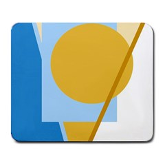 Blue And Yellow Abstract Design Large Mousepads by Valentinaart