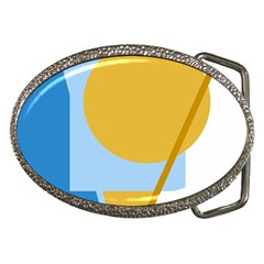 Blue And Yellow Abstract Design Belt Buckles by Valentinaart