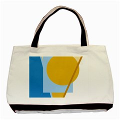 Blue And Yellow Abstract Design Basic Tote Bag by Valentinaart