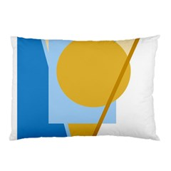 Blue And Yellow Abstract Design Pillow Case by Valentinaart