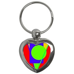 Colorful Geometric Design Key Chains (heart)  by Valentinaart