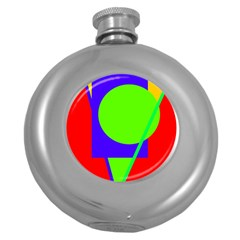 Colorful Geometric Design Round Hip Flask (5 Oz) by Valentinaart