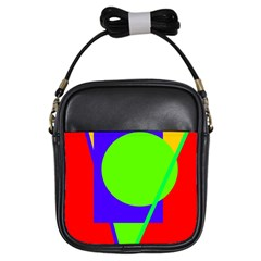 Colorful Geometric Design Girls Sling Bags by Valentinaart