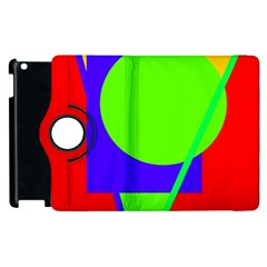Colorful Geometric Design Apple Ipad 2 Flip 360 Case by Valentinaart