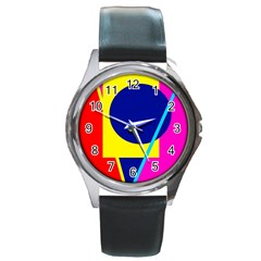 Colorful Geometric Design Round Metal Watch by Valentinaart