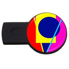 Colorful Geometric Design Usb Flash Drive Round (2 Gb)  by Valentinaart