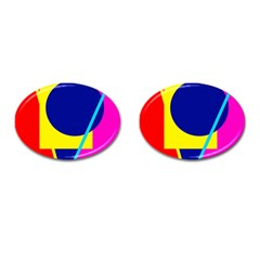 Colorful Geometric Design Cufflinks (oval) by Valentinaart