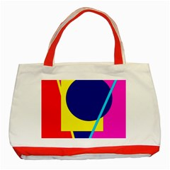 Colorful Geometric Design Classic Tote Bag (red) by Valentinaart