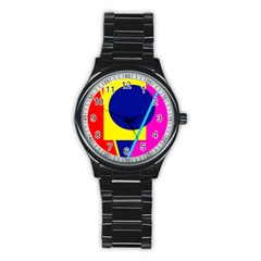 Colorful Geometric Design Stainless Steel Round Watch by Valentinaart