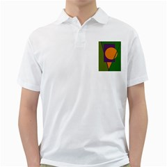 Green And Orange Geometric Design Golf Shirts by Valentinaart