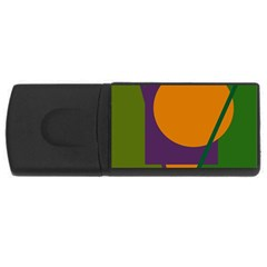 Green And Orange Geometric Design Usb Flash Drive Rectangular (4 Gb)  by Valentinaart