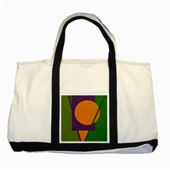 Green And Orange Geometric Design Two Tone Tote Bag by Valentinaart
