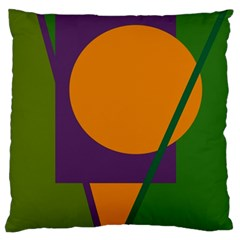 Green And Orange Geometric Design Large Cushion Case (two Sides) by Valentinaart