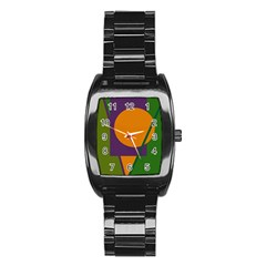 Green And Orange Geometric Design Stainless Steel Barrel Watch by Valentinaart