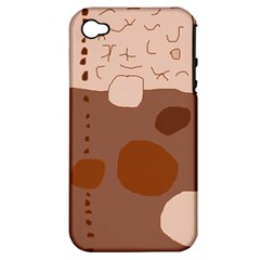 Brown Abstract Design Apple Iphone 4/4s Hardshell Case (pc+silicone) by Valentinaart