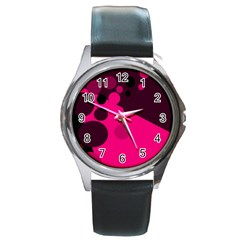 Pink Dots Round Metal Watch by Valentinaart